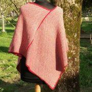 poncho rouge orangé artisanal en laine