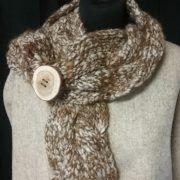 écharpe avec torsade en pure laine de mouton shropshire et d'alpaga filée main